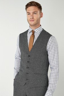 Slim Fit Check Suit: Waistcoat