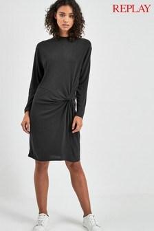 Replay® Black Knot Detail Dress