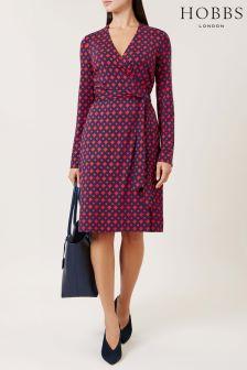 Hobbs Red/Navy Delilah Wrap Dress