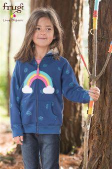Frugi Blue Dorothy Snowball Rainbow Hoody