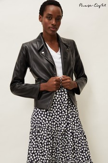 Phase Eight Black Wendie Faux Leather Jacket