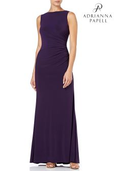 Adrianna Papell Purple Drape Beaded Dress