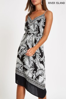 River Island Black Leaf Asymmetric Beach Dress