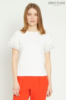 Great Plains White Samia Jersey Round Neck Top