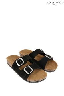 Accessorize Black Footbed Sandals