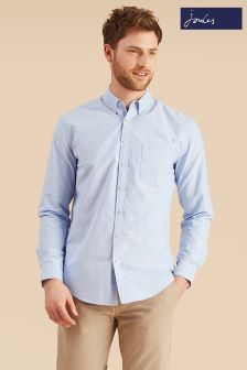 Joules Soft Blue Long Sleeve Classic Fit Laundered Oxford Shirt