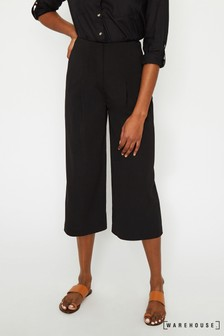 Warehouse Black Soft Pleat Culotte