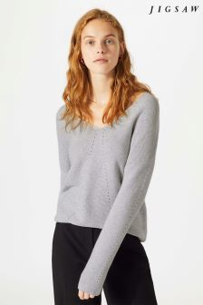 Jigsaw Grey Cotton Cash V-Neck Jumper