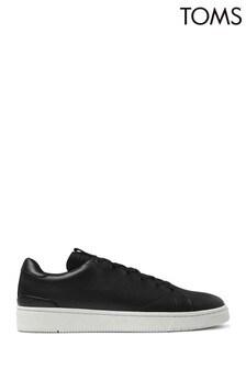 TOMS Mens Black Leather Trvl Lite Trainers