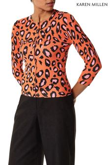 Karen Millen Orange Animal Print Cardigan