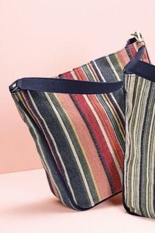Canvas Stripe Hobo Bag
