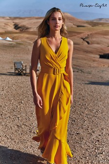 Phase Eight Yellow Lara Drape Belted Maxi Dress