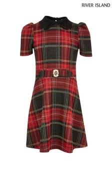 River Island Red Check Collar Dress