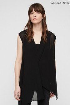 AllSaints Black Wrap Kerry Top