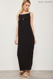 Mint Velvet Black Button Detail Maxi Dress