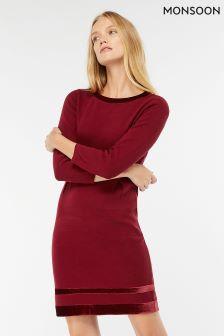 Элегантное платье ягодного цвета с бархатной отделкой Monsoon Estella
