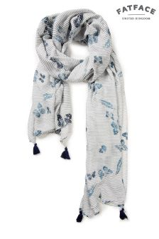 FatFace Ivory Multi Butterfly Sequin Scarf