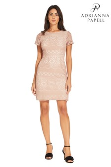 Adrianna Papell Pink Scalloped Lace Dress