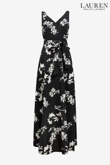 Lauren Ralph Lauren® Black Tiviana Floral Evening Dress