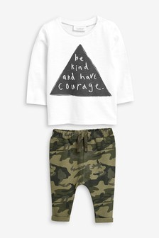Slogan T-Shirt And Camouflage Joggers Set (0mths-2yrs)