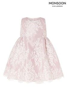 Monsoon Pink Baby Lace Dress