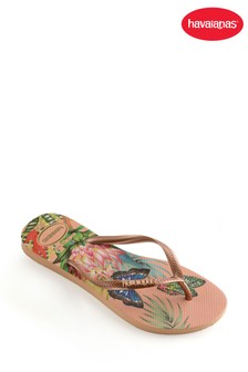 Tongs Havaianas® fines roses papillon