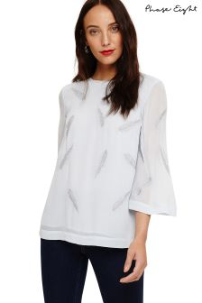 Phase Eight Blue Odette Feather Embroidered Blouse