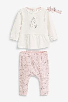 Bunny T-Shirt, Leggings And Headband Set (0mths-2yrs)