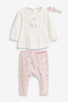 Koszulka, legginsy i opaska w zestawie z króliczkiem (0m-cy-2lata)