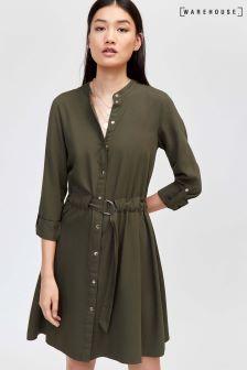 Warehouse Dark Green Plain Casual Shirt Dress