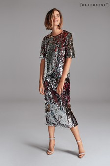 Warehouse Silver Ombre Sequin Pencil Skirt