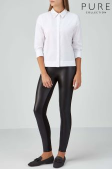 Pure Collection Black Ponte And Faux Leather Stretch Trouser