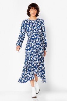 Ghost London Blue Clover Leaves Crepe Dress