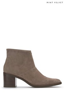 Mint Velvet Brown Siena Suede Stud Block Heel Boot