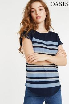 Oasis Blue Breton Stripe T-Shirt