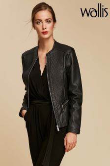 Wallis Black Faux Leather Stitch Jacket
