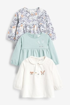 3 Pack Bunny And Floral T-Shirts (0mths-2yrs)
