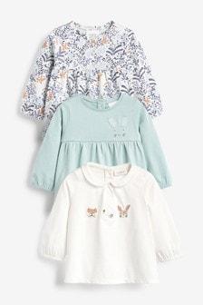 Confezione da 3 maglie con coniglietti e stampa floreale (0 mesi - 2 anni)
