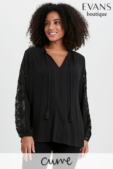 Evans Curve Black Crochet Sleeve Blouse