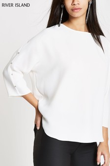 River Island Ivory Batwing Long Sleeve Gem Detail Top