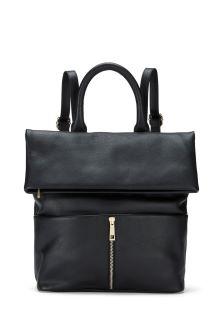 Mint Velvet Black Alex Zip Backpack