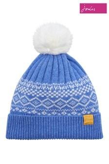 Joules Blue Fairisle Pattern Knitted Bobble Hat