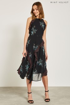 Mint Velvet Black Jane Print Ruffle Midi Dress