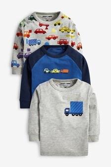 מארז של 3 חולצות טי בדוגמת קשת בענן Cars (3 חודשים-7 שנים)