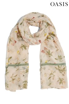 Oasis Natural Floral Lace Trim Scarf