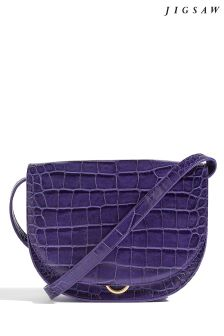 Jigsaw Purple Milas Croc Saddle Bag