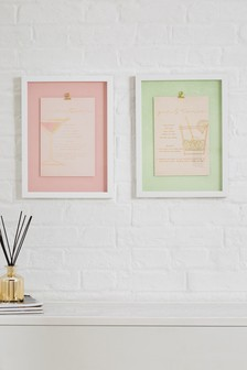 Set of 2 Cocktail Recipe Framed Art