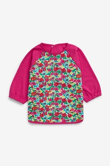 Floral Long Sleeved Dribble Proof Bib