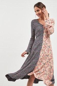 Ditsy Floral Splice Midi Dress