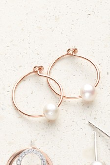 Rose Gold Plated Pearl Drop Hoop Earrings